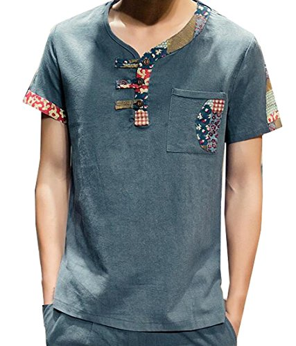 Generic Mens Japanese Loose Fit Cotton Linen Short Sleeve T-Shirt Blackish Green (Male Japanese Clothing)