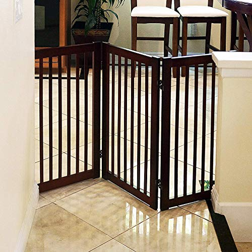 Espresso Support Panel - WELLAND Wood Freestanding Pet Gate Espresso, 54-Inch Width, 30-Inch Height (No Support Feet)