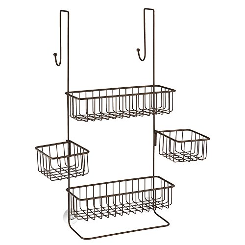 InterDesign Metalo Bathroom Over the Door Shower Caddy with Swivel Storage Baskets for Shampoo, Conditioner, Soap – Pack of 4, Bronze ()
