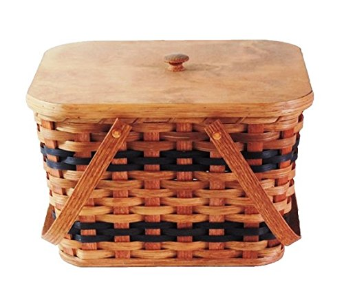 Amish Handmade Small Picnic Basket w/Swinging Handles in Blue