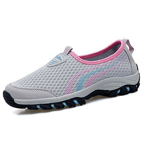 Hasag Zapatillas de Malla de Verano Zapatos de Madre de la Madre Zapatos de Tela Transpirables A1 gray powder