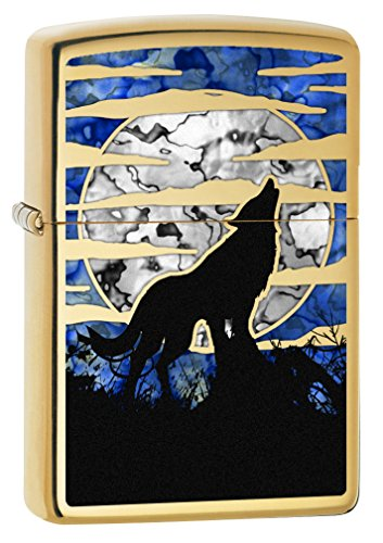 (Zippo Lighter: Fusion Wolf Howling at the Moon - High Polish Brass 78375)