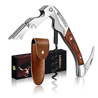ENROSE Premium Corkscrew Wine Bottle Opener and Foil Cutter Wood Handle Stainless Steel Double-Hinged All-in-one Wine Key Perfect Gift for Wine Lovers
