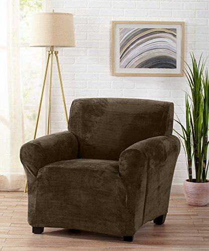 Modern Velvet Plush Strapless Slipcover. Form Fit Stretch, Stylish Furniture Cover / Protector. Gale Collection by Great Bay Home Brand. (Chair, Walnut Brown) Walnut Wide Chair