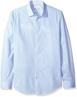Calvin Klein Men's Infinite Cool Slim Fit Button Down Shirt Diamond Print