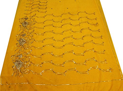 Vintage Sari Indian Curtain Drape Yellow Saree Used Georgette Fabric Hand Beaded Material Women Wrap 5Yd Crafted Recycled Fabric Sarong Dress