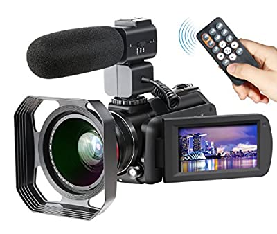4K Camcorder, Ansteker Ultra-HD 1080P 24MP 30FPS Digital Wifi Video Camera, IR Night Vision Camcorder with Microphone and Wide Angle Lens,Lens hood by Ansteker
