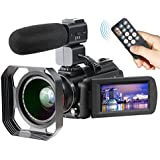 4K Camcorder, Ansteker Ultra-HD 1080P 24MP 30FPS Digital WiFi Video Camera, IR Night Vision Camcorder Microphone Wide Angle Lens,Lens Hood (Black)