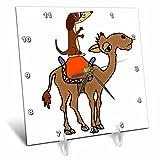 3dRose All Smiles Art Animals - Funny Cool Dachshund Dog Riding Camel Cartoon - 6x6 Desk Clock (dc_281476_1)