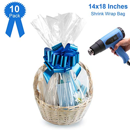 Shrink Wrap Bags for Gift Baskets,Easter Clear Basket Bags 14X18 Inches PVC Heat Shrink Bags for Gift Wrapping,Packaging 20 Pack