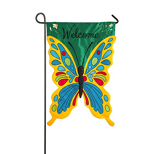 Evergreen Welcome Butterfly Double-Sided Appliqué Garden Flag - 12.5