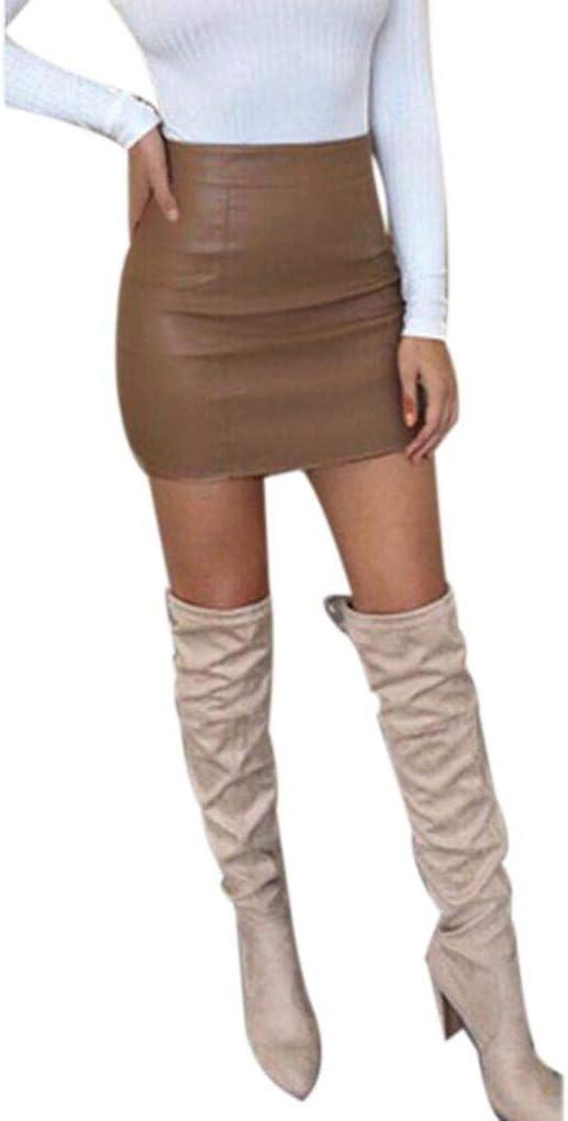 Fuxitoggo Vestido Mujer, Falda Sexy, Cintura Alta, Piel sintética ...