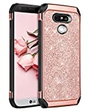 LG G5 Case, LG G5 Cover, BENTOBEN Shockproof Anti-scratch Glitter Bling Luxury Dual Layer Hybrid Hard PC Laminated with Sparkly Shiny Faux Leather Chrome Protective Case for LG G5 (2016), Rose Gold