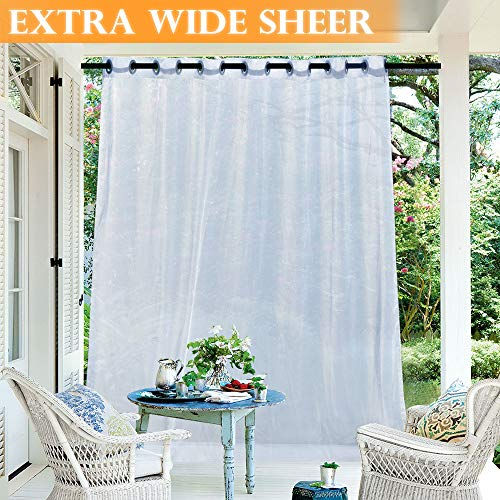 RYB HOME Outdoor Indoor White Sheer Extra Wide Curtains for Patio, Diffuse Sunlight Glare, Light & Airy Voile Drape for Porch/Backyard/Cabana, with 1 Rope, Width 100 inch x Length 108 inch (Cabana Outdoor)