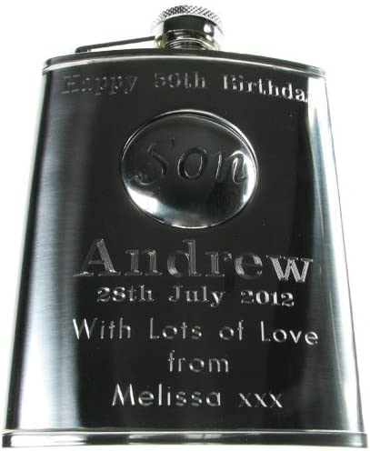 Personalised Engraved 6oz Stainless Steel Hip Flask with Solid Pewter Son Feature Sons 18th Birthday Gift Mens Birthday Gifts