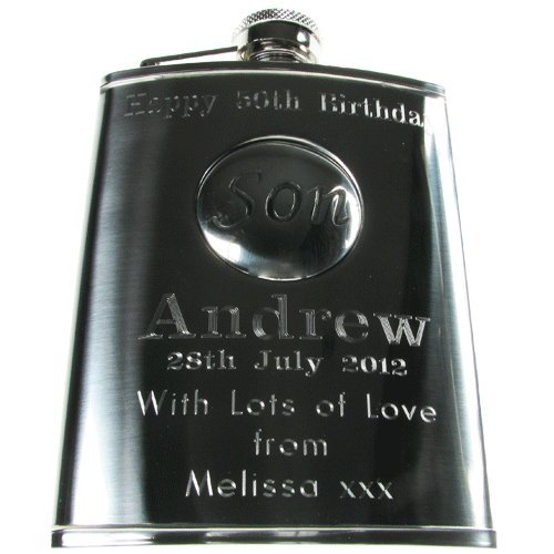 Sons 18th Birthday Gift Personalised Engraved 6oz Stainless Steel Hip Flask With Solid Pewter Son Feature Mens Gifts Amazoncouk Kitchen