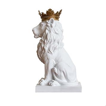 Sculpture Couronne Lion Statue Resine Moderne Art Bureau