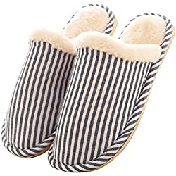 Respeedime Men's Fashion Indoor Home Shoes Cozy Cotton Warm Slippers