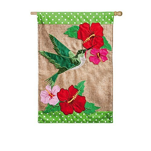 Hibiscus Flowers and Hummingbird Burlap Applique House Flag by Gifted Living