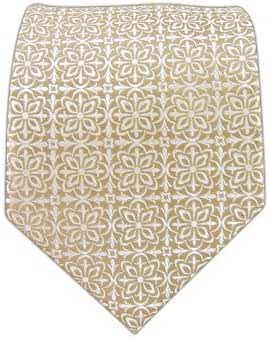 The Tie Bar 100% Woven Silk Champagne Opulent Geometric Patterned Tie