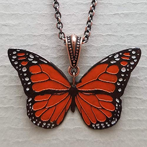 Etched Copper Monarch Necklace Hand Cut