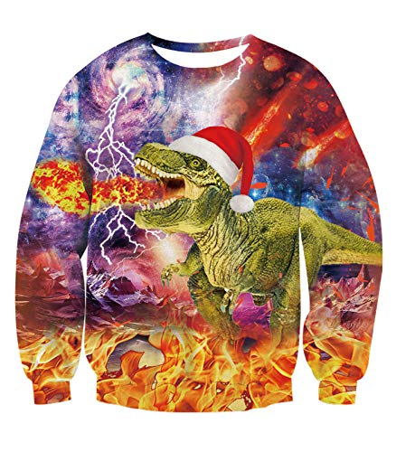 Price comparison product image BFUSTLYE Ugly Christmas Sweater Funny Jumpers Sweatshirt Green Dinosaur spit fire 3D Print Novelty Xmas Long Sleeve Round Neck Sweatshirt for Lil Girls Boys 4 5 Years Old