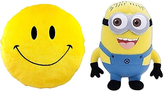 Punyah Creations Cool Dude Smiley Cushion and Cute Minions Cute Cartoon Soft Toy Combo Pack (Pack of 2)