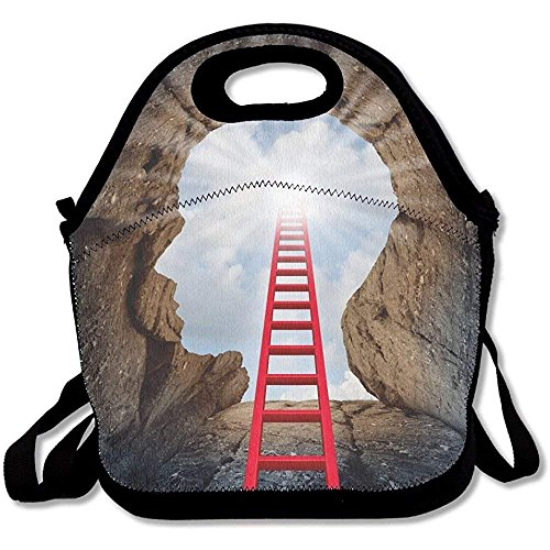 Concept Of Open Mind As A A Deep Mountain Cliff Shaped As A Human Head With A Ladder Leading To The Cool Lunch Tote Lunch Bag School Mid-sized