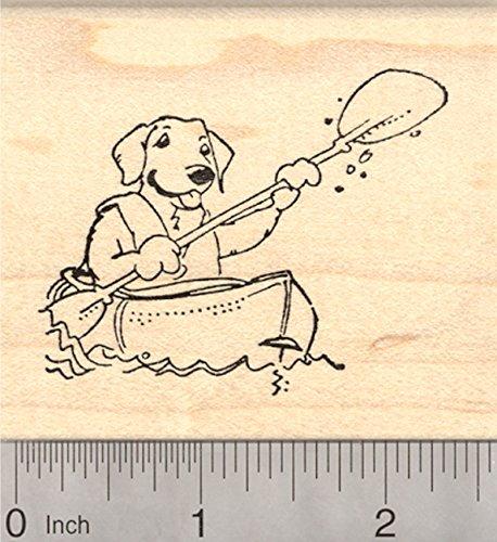 Kayaking Dog Rubber Stamp, Labrador Retriever Paddling Kayak