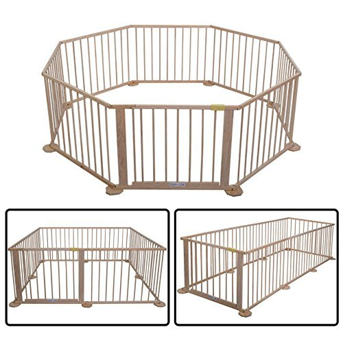 Baby Playpen 8 Panel Foldable Wooden Frame Kids Play Center Yard Indoor&Outdoor from Unknown