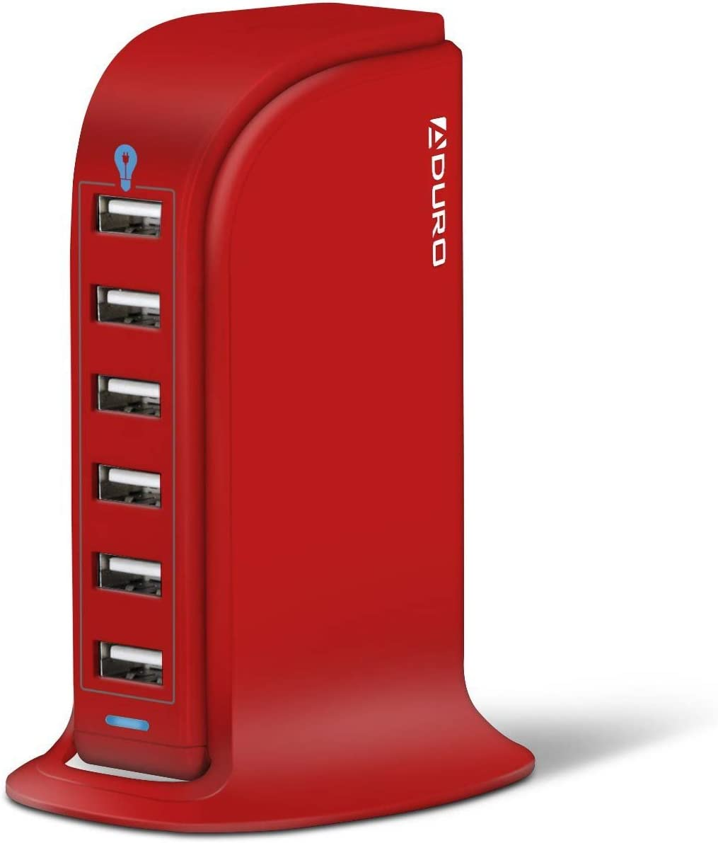 Aduro 40W 6-Port USB Desktop Charging Station Hub Wall Charger for iPhone iPad Tablets Smartphones with Smart Flow (Red)