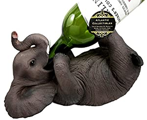 Ebros Kitchen Decor Playful Safari Elephant Wine Bottle Holder Figurine Animal Savanna Oil Wine Valet Storage With Pachyderm Elephant Theme