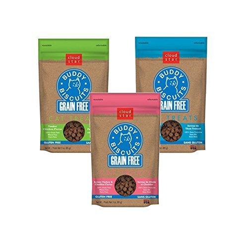 (Cloud Star Soft & Chewy Grain Free Premium Cat Treat Bundle - Tempting Tuna, Turkey and Cheddar, Chicken)