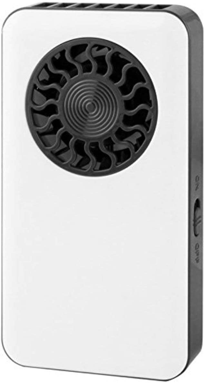 Ventilador portátil de mano ultrafino, blanco con negro, tamaño de teléfono móvil, mini ventilador de viaje, mini ventilador recargable por USB