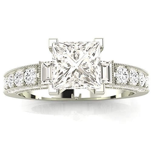 1.18 Cttw 14K White Gold Princess Cut Gorgeous Prong Set Round And Half Bezel Baguette Diamond Engagement Ring with a 0.6 Carat F-G Color SI1-SI2 Clarity Center Image