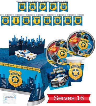 Police Party Supplies - Plates Cups Napkins Banner Tablecloth and Centerpiece for 16 People - Perfect Police Party Decorations for Birthday Party! -