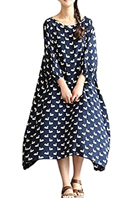 Mordenmiss Women's Swan Pattern Plus Size Dress Daily Clothing