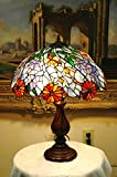 18 Inch Flowers Stained Glass Tiffany Style Table Desk Lamp , Zinc Base