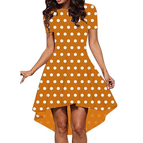 (Womens Fashion Dresses 2019,Fudule Women Sexy Sleeveless Dot Printed Ruffle Cocktail Dress Evening Party Swing Dresses)