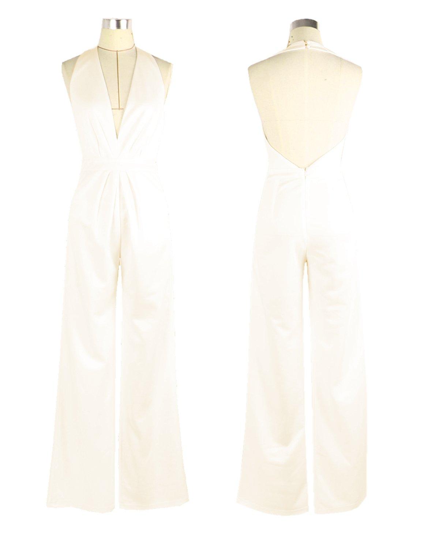 carinacoco Mujer Monos Jumpsuits de Escotado por Detrás Playsuit Elegante  de Fiesta de Noche f2b9ce428c60