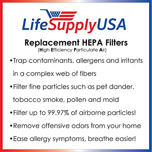 LifeSupplyUSA compatible with Honeywell 21600 Air Purifier Replacement HEPA Filter 51500 61500 18150 11520 17200 11500 11525 11526 17201 17210 83330