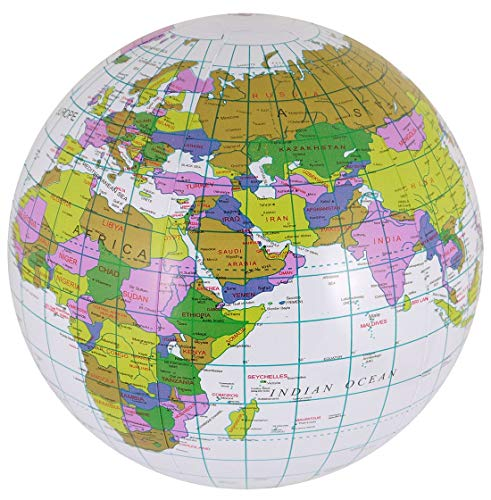 Rimi Hanger Kids Inflatable Blow Up World Map Globe 40cm Childrens Party Supplies Accessory One Size (Pack of ()