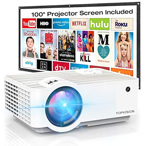 Video Projector, TOPVISION 4500Lux Portable Mini Projector with 100″ Projector Screen, 1080P Supported, Built in HI-FI Speakers, Compatible with Fire Stick, HDMI, VGA, USB, TF, AV, PS4