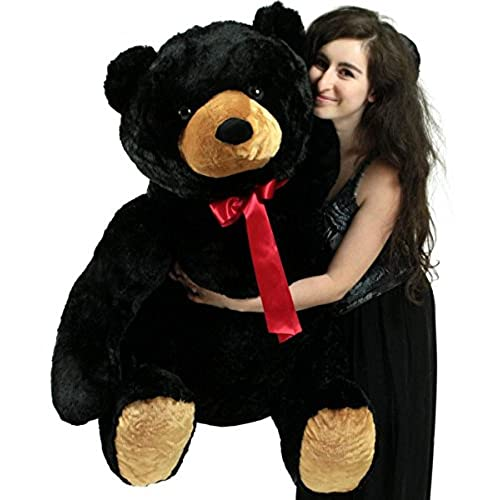 Big Plush Life Size Stuffed Black Teddy Bear, Soft Animal, 3 Feet Tall and 3 Feet Wide