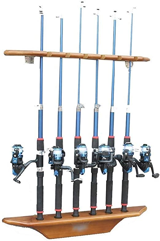 Amazon Com Fishing Pole Holder Fishing Storage Rack Fishing Rod Wooden Anti Slip Steel Rod Arrangement Rack Vertical Stand Ball Rod Storage Rack Display Rack Fishing Rod Holder Home Kitchen