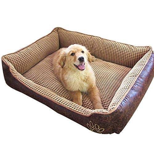 L Yiye Zhiqiu Waterproof Leather Dog Bed Washable PP Cotton Padded Pet Puppy Cushion For Large Dogs (Size   L)
