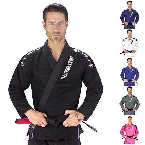 Elite Sports New Item IBJJF Ultra Light Brazilian Uniform with Preshrunk Fabric and Free Belt, Black, A2