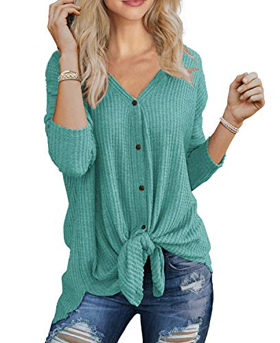 IWOLLENCE Womens Loose Henley Blouse Bat Wing Long Sleeve Button Down T Shirts Tie Front Knot Tops Blue Green M