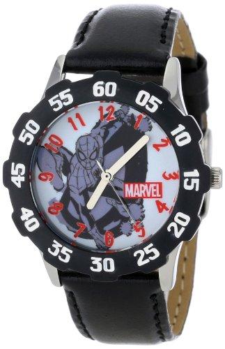 Marvel Kids' W001047 Tween Spider-Man Stainless Steel Black Bezel Black Leather Strap Watch