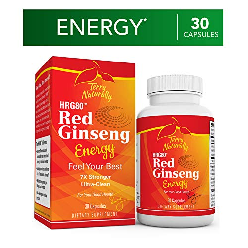 Terry Naturally HRG80 Red Ginseng Energy - 30 Capsules - Energy Support Supplement - Korean Red Ginseng Root Powder, Panax Ginseng, HRG80, Non-GMO, Vegan, Gluten Free - 30 Servings Terry Naturally
